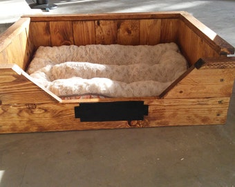 Wood dog bed