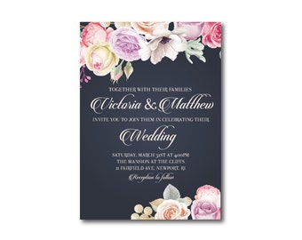Printable Floral Wedding Invitation Set (5 files!) Dark Navy Gradient with Romantic Florals