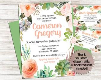 Boho Baby SHOWER Invite Invitation 5x7 Bundle Succulents Flowers Watercolor Personalized