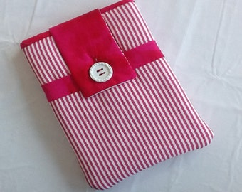 Pink and White Striped Kindle Fire Sleeve