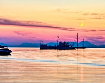 Sunset over Corfu from Syvota Greece Framed and Mounted Print
