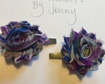 Shabby flower alligator clips (set of 2)