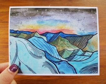 Aurora Borealis Mountains Stationery Watercolor Single Folded Card
