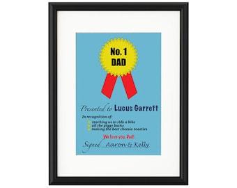 No 1 Dad Certificate Personalised Print