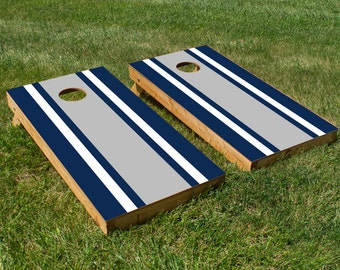Classic Stripe - Blue, White, Grey Cornhole Board Set