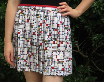 80s Retro Pleated Mondrian Modern Art Mini Skirt by Tail, Made in the USA