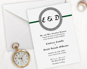 Celtic Knot Monogram Irish Wedding Invitation