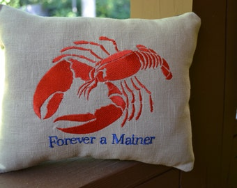 "Maine Lobster Pillow: Embroidered ""Forever a Mainer"""