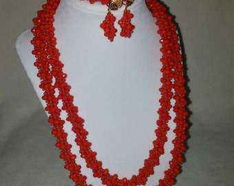 Red Crystal & Bead Necklace