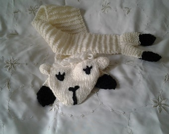 "Hand knitted cream lamb scarf 33"" long"