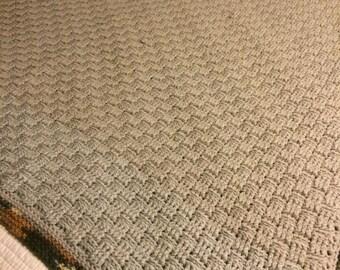 New basket weave crocheted afghan, grey