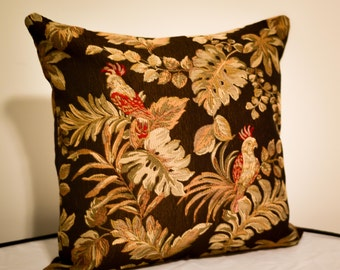 """Brown Parrot Accent Decorative Square Throw Pillow Cushion Cover, 18""""x18"""" Inch"""