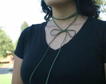 Olive Green Bow Choker