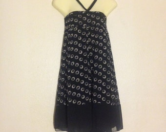 women black and white halter dress