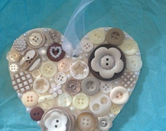 Cream and Beige Hanging Heart 12.5cm Embellished with Buttons