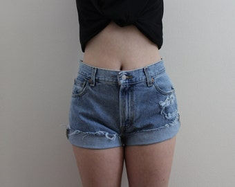 Distressed High Waisted Levi Shorts