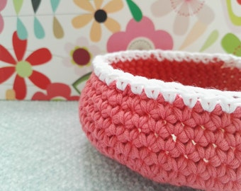 Trinket treasure bowl - gorgeous antique rose crochet