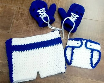 Kit of boxing, crochet, wool, 100% acrylic. photographer or costume accessory