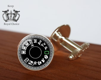 Camera dial pair of cufflinks, Photographer cuff links, Professional camera Tie clip, Personalized Men Wedding Jewelry, gift for dad