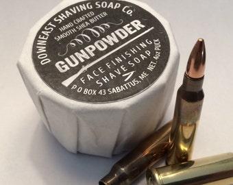 downeast shaving soap Co. 4oz puck (gunpowder)