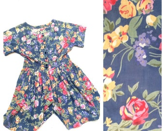 Floral playsuit 1980 s Blue and Yellow Jumpsuit