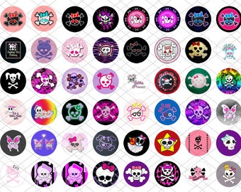 48 one inch round images - Girly Skulls