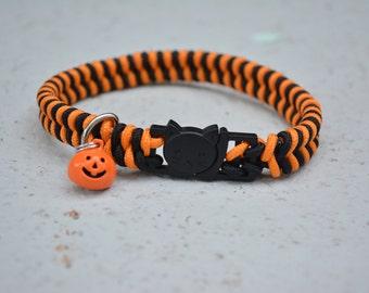 Halloween Paracord NON-ADJUSTABLE Cat Collar (Break-Away Buckle), Braided Cat Collar, Rope Cat Collar, Unique Cat Collar, Bell Collar