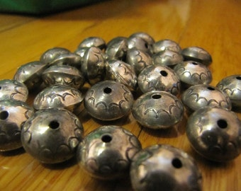 Handmade sterling silver stamped bench beads 1/2'' size , 12 pcs lot (pattern #1)
