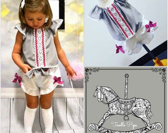 Toddler and Junior 2 piece Frilled sleeve and wrap over shorts set