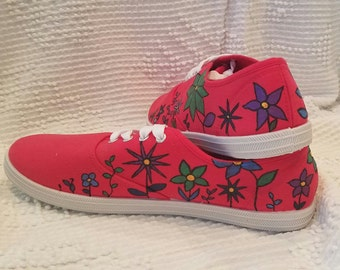 Hand Painted Red Flower Garden Sneakers
