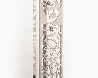 Kosher Handmade MEZUZAH Case Torah Israel Protective Good Luck Bless Decor Perspex base and stainless steel. Jewish tradition.Long 12cm- 3