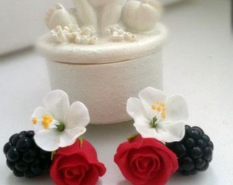 flower earrings, blackberry earrings, gift for her, black earrings, bride jewelry, bridesmaids gift, black bride , apple blissoms, wedding