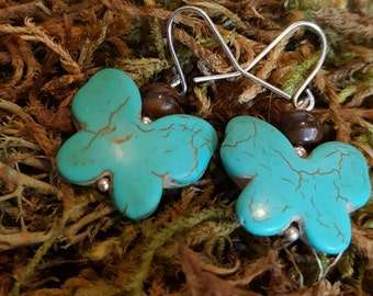 Butterfly Earrings, Turquoise Butterfly Earrings, Spring Earrings, Summer Earrings, Butterfly Jewelry