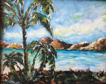 Original acrylic painting, Palm trees ocean painting, paradise, florida, island wall art
