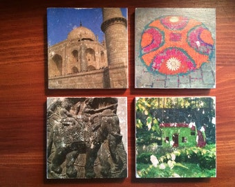 Custom Natural Tumbled Stone Coasters with Your Personal Photos (Set of 4) Trip Pictures, Vacation Memories, Travel Images