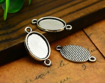 20pcs--Handmade Cabochon Base Setting, Antique Silver Ellipse Cameo Setting connector Charm Pendants, inner 13x18mm LM013-2918