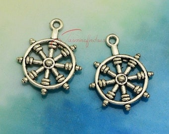 20PCS--28x22mm ,Rudder Charms, Antique silver rudder charm pendant, DIY supplies,Jewelry accessories LCM0215