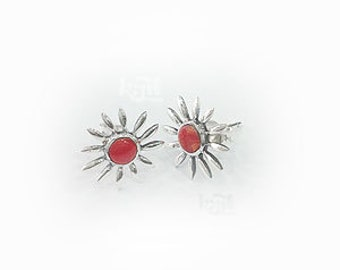Zinnia Stud Earrings ;with mix color All streling silver 92.5%, Made in Thailand