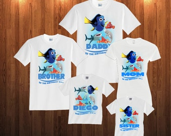 Finding Dory Birthday Long Sleeve and Short Sleeve Shirt, Custom personalized t-shirts for all family,