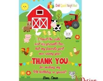 Farm Thank You Card, Farm Thank You Note, Farm Birthday, Farm Party, Printable Thank You Card