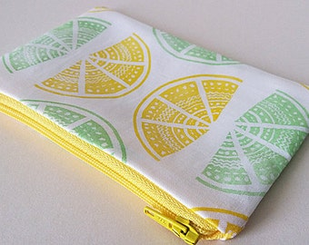 Hand Printed Lemon & Lime Coin Purse