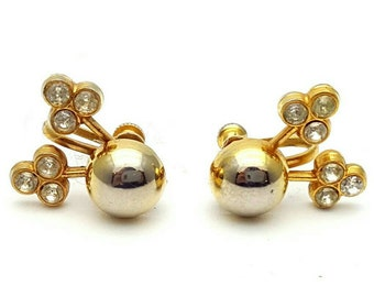 Fun Gold Tone and Crystal Rhinestones Screw Back Earrings Retro Vintage