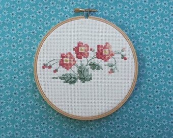 Wildflower handmade cross stitch embroidery hoop custom made to order floral home decor