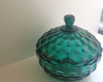 Vintage Teal Green Candy Dish, Whitehall by Indiana Glass