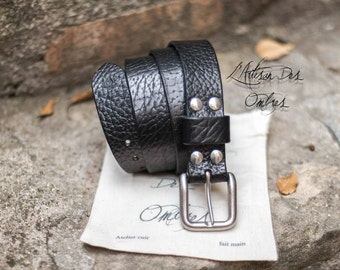Black leather belt 30 mm nickel buckle