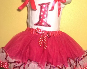 Minnie Mouse Dress Birthday Dress 1 year old HOT PINK Girl Baby Toddler