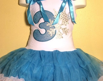 FROZEN Dress Birthday Dress 3 year old Blue Turquoise Girl Baby Toddler