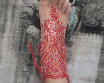 Bridal barefoot Lace Sandals for wedding - Red & Elegant