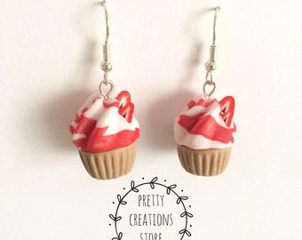 Earrings earrings Jewelry, Food, Cupcakes, strawberry cupcakes Miniature Food, Food Jewelry, Polymer Clay, Handmade Cupcakes cute kawaii