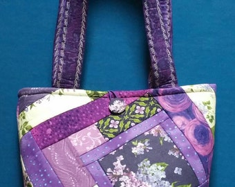 Handmade Purple Flowers Tote / Purse / handbag
